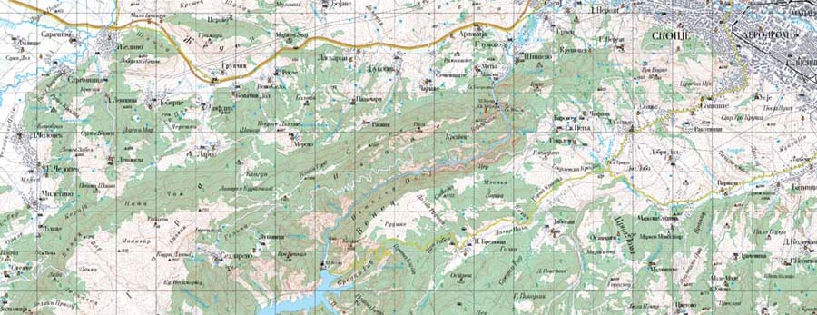Topographic map S 1:100000 – Agency for Real Estate Cadastre